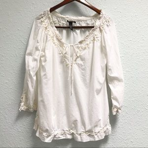 Lucky Brand Peasant Blouse with front keyhole tie